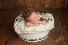 Newborn Baby Boy Wearing a Bear Hat. Four week old newborn baby boy wearing a brown crocheted bear hat. He is sleeping in a white, wooden bucket. Shot in the stock photos