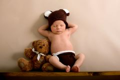 Newborn baby boy wearing a brown knitted bear hat and pants, sleeping on a shelf. Next to Teddy Bears. Shot in the studio on a creamy background, shot from royalty free stock photos