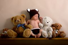 Newborn baby boy wearing a brown knitted bear hat and pants, sleeping on a shelf. Next to Teddy Bears. Shot in the studio on a creamy background, shot from royalty free stock photo