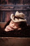 Newborn Baby Boy Wearing a Cowboy Hat Stock Photos