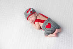 Newborn Baby Boy Wearing a Royalty Free Stock Images
