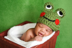 Newborn Baby Boy Wearing Frog Hat Stock Image