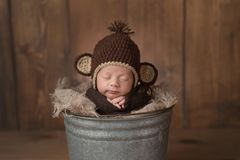Newborn Baby Boy Wearing a Monkey Hat royalty free stock photos