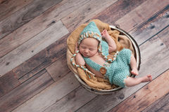 Newborn Baby Boy Wearing a Pixie Hat Royalty Free Stock Photos