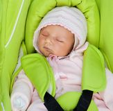 Newborn baby in a Car Seat Royalty Free Stock Images