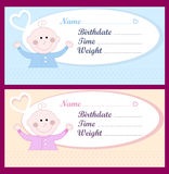 Newborn baby cards. Baby cards in soft pink for girls and soft blue for boys. Copy space for writing down the name, birthday, time and weight stock illustration