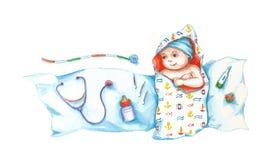 Newborn. Baby cartoon on a white background Royalty Free Stock Image