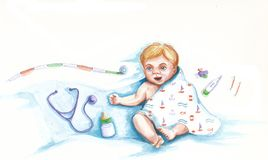 Newborn. Baby cartoon on a white background Stock Photos