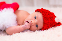 Newborn baby for christmas Stock Photos