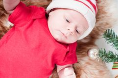 Newborn baby in chritstmas hat Royalty Free Stock Photo