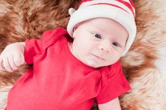 Newborn baby in chritstmas hat Royalty Free Stock Image