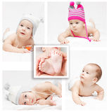 Newborn baby. Collage Royalty Free Stock Photo