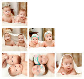 Newborn baby collage. The  collage of babies  or newborn children aged up to one year Royalty Free Stock Photography