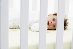 Newborn Baby In Cot Royalty Free Stock Photography