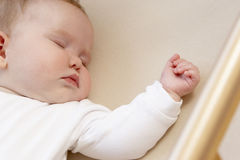 Newborn Baby In Cot Royalty Free Stock Photos