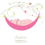 Newborn baby cradle greeting card vector Stock Image
