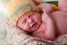 Newborn baby cry Royalty Free Stock Photo