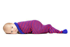 Newborn baby curled up lying Royalty Free Stock Photo