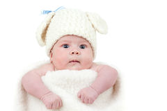 Newborn baby dressed in Easter bunny cap Royalty Free Stock Photography