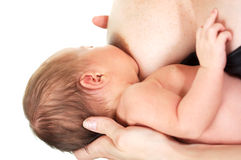 Newborn Baby Eating Stock Photo