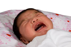 Newborn baby with eyes closed, crying Royalty Free Stock Photos
