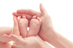 newborn baby feet on female hands Royalty Free Stock Images