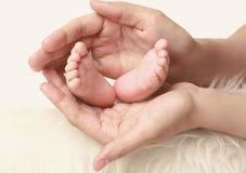 Newborn baby feet in mother's hands Stock Image