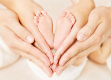 Newborn baby feet parents holding in hands. Love simbol as heart sign stock photography