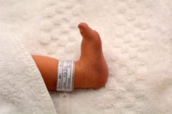Newborn baby foot Stock Photos