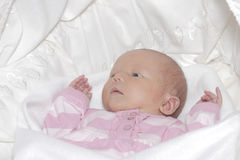 Newborn baby girl. A newborn baby girl resting on a white blanket stock images