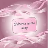 Newborn Baby girl arrival announcement pink card royalty free illustration