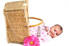 Newborn baby girl in a basket, beads and flower Royalty Free Stock Image