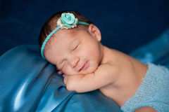 Newborn Baby Girl with Blue Headband Royalty Free Stock Photo