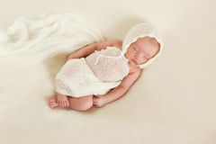 Newborn Baby Girl in Bonnet Royalty Free Stock Images