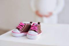 Newborn baby girl booties Royalty Free Stock Photos