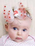 Newborn baby girl with butterfly Royalty Free Stock Images