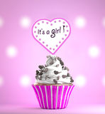 Newborn Baby Girl card message on a delicious cupcake Royalty Free Stock Photography