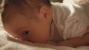 Baby girl trying to crawl on the bed. Newborn baby girl close up portrait Royalty Free Stock Image