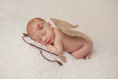 Newborn Baby Girl with Cupid Wings and Archery Set. Portrait of a smiling, red headed, 2 week old, newborn baby girl. She is wearing a Cupid costume with angel stock photos