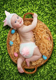 Newborn baby girl dressed as Easter bunny.  Stock Images