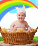 Newborn baby girl dressed as Easter bunny.  Stock Photos