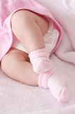 Newborn baby girl feet Stock Photo
