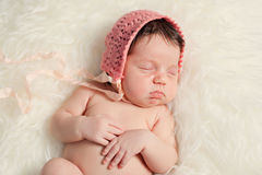 Newborn baby girl on fur background Royalty Free Stock Image