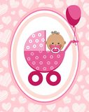 Newborn baby, girl, greeting card, Africa, pink hearts, vector. A little girl in a pink stroller. A pink balloon is tied to the stroller. Color, flat card Royalty Free Stock Photography