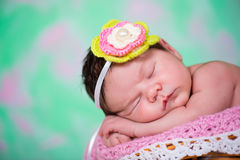 Newborn baby girl  has sweet dreams on the wicker basket. Stock Photography