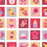 Newborn Baby girl icons in seamless pattern Royalty Free Stock Image