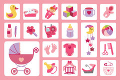 Newborn Baby girl icons set.Baby shower Stock Photos