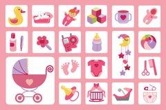Newborn Baby girl icons set.Baby shower Stock Photos