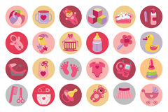 Newborn Baby girl icons set. Baby shower. Cute Newborn flat icons set for Baby girl. Baby shower  cartoon design elements. Baby infographic. Vector Royalty Free Stock Photography