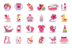 Newborn Baby girl icons set.Baby shower kit. Cute Newborn flat icons set for Baby  girl.Icons with long shadow.Baby shower  cartoon design elements.For web and Royalty Free Stock Image